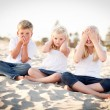 Stock Photo: See, Hear and Speak No Evil Children Outside