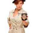 Female Detective With Official Badge In Trench Coat on White — Stock Photo