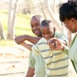 Foto Stock: Beautiful African American Family Playing Outside