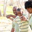 Beautiful African American Family Playing Outside — Stockfoto