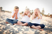 See, Hear and Speak No Evil Children Outside — Stock Photo