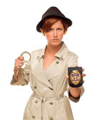 Female Detective With Handcuffs and Badge In Trench Coat — Stock Photo