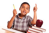 Hispanic Boy Raising His Hand, Books, Apple, Pencil and Paper — Stock Photo