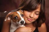 Pretty Hispanic Girl and Her Puppy Studio Portrait — Stock Photo