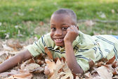 Young African American Boy Playing in the Park — Stock Photo