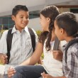 Stock Photo: Cute Brothers and Sister Talking, Ready for School