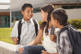 Cute Brothers and Sister Talking, Ready for School — Stock Photo