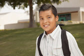 Happy Young Hispanic Boy Ready for School — Stock Photo