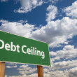 Debt Ceiling Green Road Sign - Stock Photo