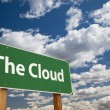 The Cloud Green Road Sign - Stock Photo