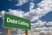 Debt Ceiling Green Road Sign — Stock Photo
