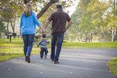 Famiglia etnici felice di razza mista, passeggiate nel parco — Foto Stock