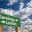 Earnings, Losses Green Road Sign Over Clouds - Stock Photo