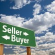 Stock Photo: Seller, Buyer Green Road Sign Over Clouds