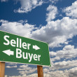 Seller, Buyer Green Road Sign Over Clouds - Stock Photo