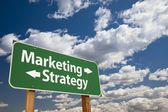 Marketing, Strategy Green Road Sign Over Clouds — Stock Photo