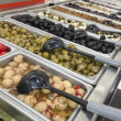 Olive Variety Buffet in Delicatessen - Stock Photo