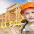 Child Boy Dressed Up as Handyman in Front of House Framing — Stock Photo