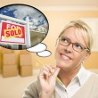 Woman in Empty Room with Thought Bubble of Sold Real Estate Sign — Stock Photo #21263337