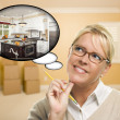 Woman in Empty Room with Thought Bubble of a New Kitchen Design - Stock Photo