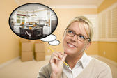 Woman in Empty Room with Thought Bubble of a New Kitchen Design — Stock Photo