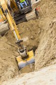 Excavator Tractor Digging A Trench — Stock Photo