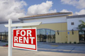 Vacant Retail Building with For Rent Real Estate Sign — Stock Photo