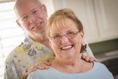 Happy Caucasian Senior Couple Portrait Inside — Stockfoto