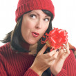 Attractive Woman Holds Holiday Gift Isol — Stock Photo #2343289