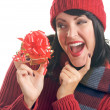 Attractive Woman Holds Holiday Gift — Stock Photo #2343411