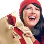 Elated Brunette Holds Holiday Gift — Stock Photo #2343530