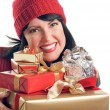 Attractive Woman Holds Holiday Gifts — Stock Photo #2343816