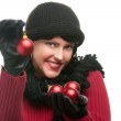 Attractive Woman Holding Christmas Ornaments — Stock Photo #2344295