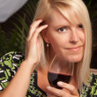 Beautiful Blonde Smiling with Wine Glass — Stock Photo #2344880