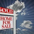 Sold Home For Sale Sign on Clouds — Stock Photo #2360650