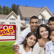 Hispanic Family in Front of Sold Real Estate Sign, House — Stok fotoğraf