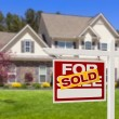 Sold Home For Sale Real Estate Sign and House — Stock Photo #24176821