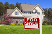 Home For Sale Real Estate Sign and House — Stockfoto