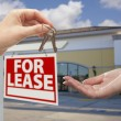 Handing Over Keys in Front of Business Office and Sign — Stock Photo #24281059