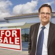 Stock Photo: Businessman In Front of Office Building and For Sale Sign