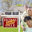 African American Family In Front of Sold Sign and House — Stock Photo