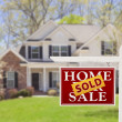 Sold Home For Sale Real Estate Sign and House — Stock Photo #24418461