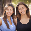 Two Mixed Race Twin Sisters Portrait - Stock Photo