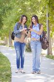 年轻成人的混的血双胞胎姐妹分享手机的经验 — 图库照片