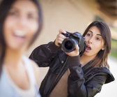 Excited Female Mixed Race Photographer Spots Celebrity — Stock Photo