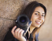 Mixed Race Young Adult Female Photographer Holding Camera — Stock Photo