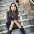 Mixed Race Young Adult Woman Portrait on Staircase — Stock Photo