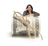 Hispanic Woman Leaning on a Roll Of Hundred Dollar Bills — Stock Photo