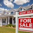 Short Sale Home For Sale Real Estate Sign and House — Stock Photo #2806824