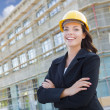 Portrait of Female Contractor Wearing Hard Hat at Construction S — Stock Photo